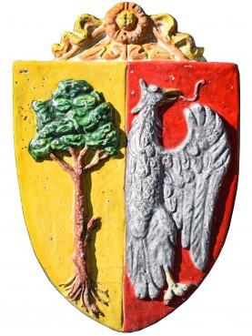 Stemma in maiolica - Della Gherardesca - aquila e albero