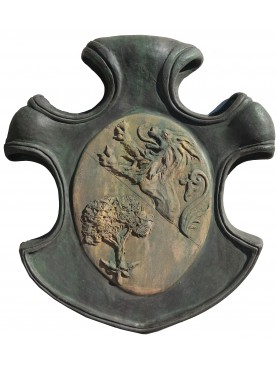 Coat of arms terracotta, lion and tree