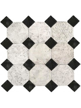 Large octagonal lime-stone floor with slate tiles
