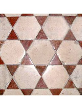 Stone floor with Hexagons and Triangles - limestone and red terracotta