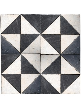 Pavimento optical in pietra bianca calcarea e ardesia
