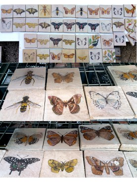 Our majolica tiles butterflyes - majolica tile hand made in italy