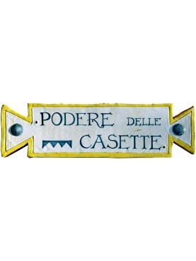 Majolica identification plate of a farmhouse in Tuscany