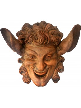 Mascherone in terracotta copia della maschera di Villa Grabau a Lucca
