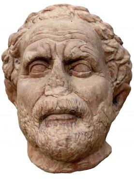 Demostene terracota head of Greek philosopher