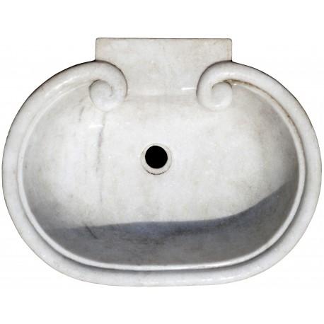 Lavello in marmo bianco con due volute
