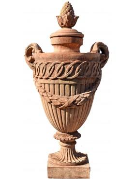 Vaso impero a calice da pilastro - urna in terracotta