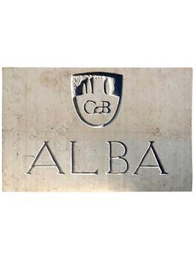 Villa ALBA, Castiglion del Bosco Montalcino LIMESTONE identification plate