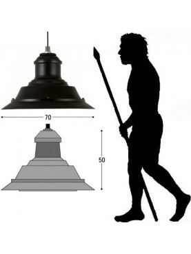 Grande lanterna in ferro e vetro rotonda Ø 70 cm illuminazione esterna