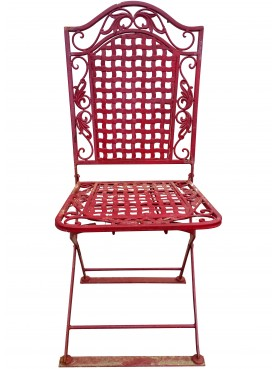 Sedia francese in ferro battuto da giardino seduta intrecciata
