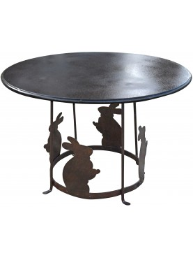 Round Forged iron low table with rabbits