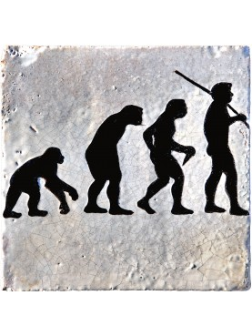 Evolution Tile - human evolution, Darwin maiolica tile