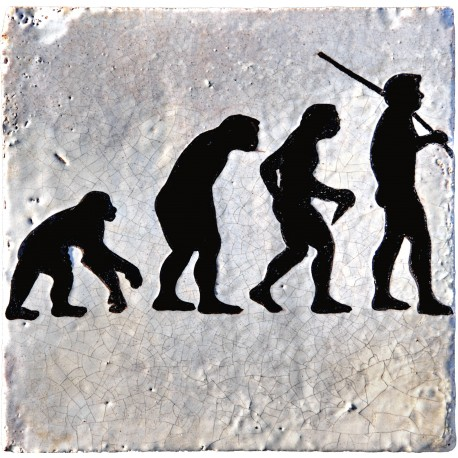 La piastrella Darwinista - evoluzione umana - Darwin maiolica