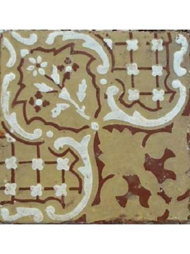 Ancient majolica tile beige and brown