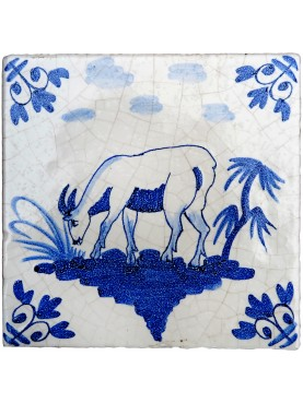Delft Hannoversch majolica tiles - Goat