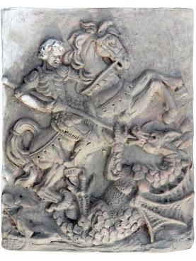 San Giorgio e il drago - formella in terracotta