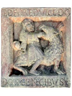 """Formella in terracotta dell'Abbazia di Nonantola """"l'Enigma di Sansone"""""""