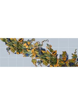 Majolica Panel 27 tiles - Neapolitan design - Chiostro Maiolicato di Santa Chiara