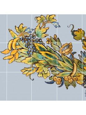 Pannello 30 piastrelle con disegno napoletano - Chiostro Maiolicato di Santa Chiara