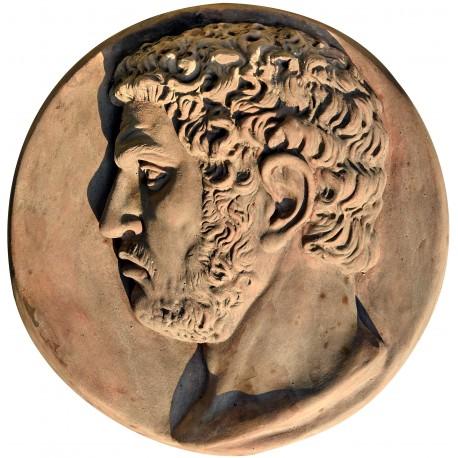 Tondo in terracotta di Caracalla imperatore romano