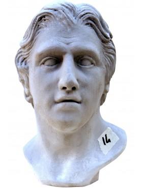Alessandro Magno testa in terracotta bianca