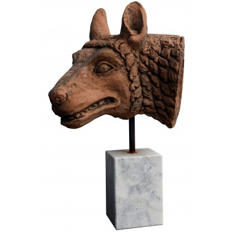 Head of the Roman wolf - patinated terracotta