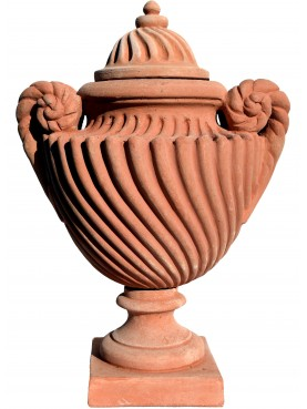 Romanesque strigillated vase - terracotta reproduction of an original ancient vase