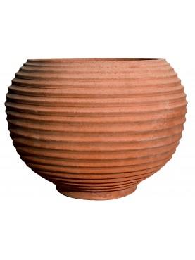 Cachepot sfeoidale rigato in terracotta