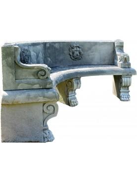 Panchina in pietra di ns produzione copia di un originale rinascimentale fiorentino