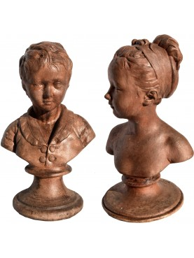 Louise and Alexandre Brongniart by Houdon - Pair of busts from Louvre