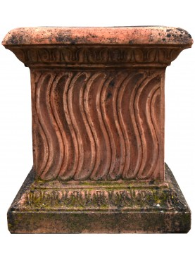 Strigilated Terracotta Base for vase and statue