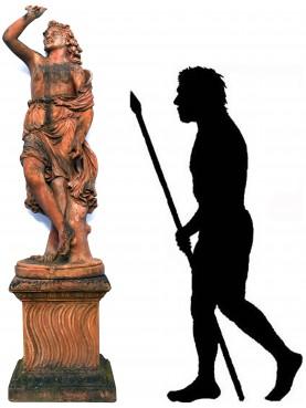 Statua dell'abbondanza in terracotta toscana con base