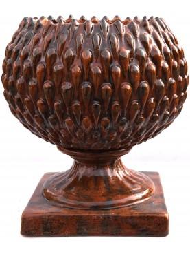 Maiolica pine globe pot