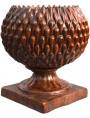 Vaso Pigna Sferica in maiolica brunita