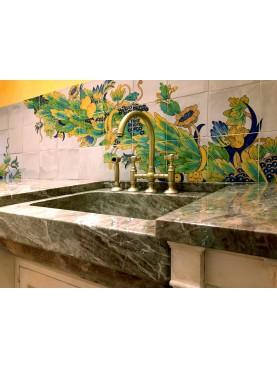 Majolica Panel 36 tiles - Neapolitan design - Chiostro Maiolicato di Santa Chiara