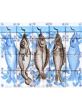 Fish panel in manganese and blue