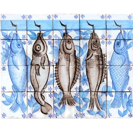 Pannello pesci 20 piastrelle manganese e blu