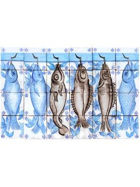 Pannello pesci 24 piastrelle portoghese - 6 pesci merluzzi maiolica