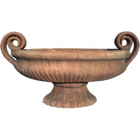 Vaso in terracotta ovale a calice antico toscano baccellato