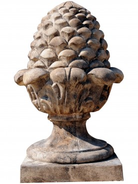French terracotta Pine cone H.63cms