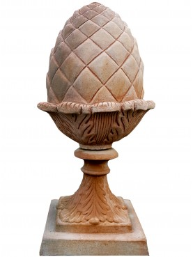 Pine-cone h. 35 cm hand made terracotta