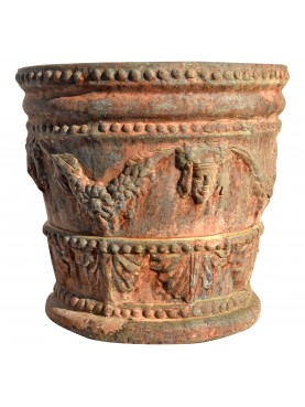 """Testone"" festooned small size terracotta vase"