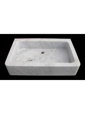 Lavandino da cucina semplice in marmo bianco di Carrara