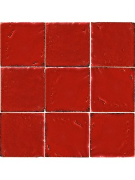 Piastrella Marocchina fatta a mano rosso corallo