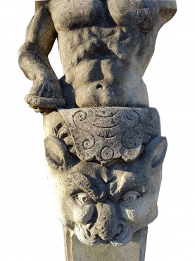 Erma of limestone Hercules depicting neoclassical style