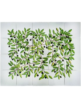 Olive tree majolica panel - 20 tiles