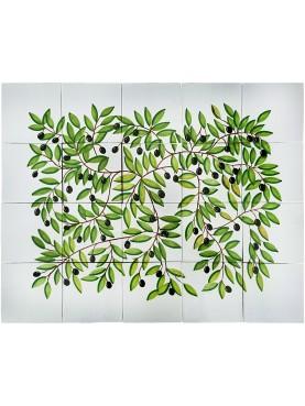 Pannello maiolicato olivo 20 piastrelle