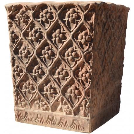 Media Cassetta in terracotta quadrata con motivi floreali