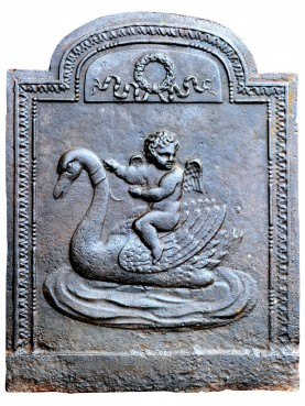 Original ancient fireback - Putto riding a swan