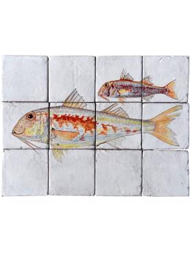 Pannello maiolica pesci Sarago fasciato